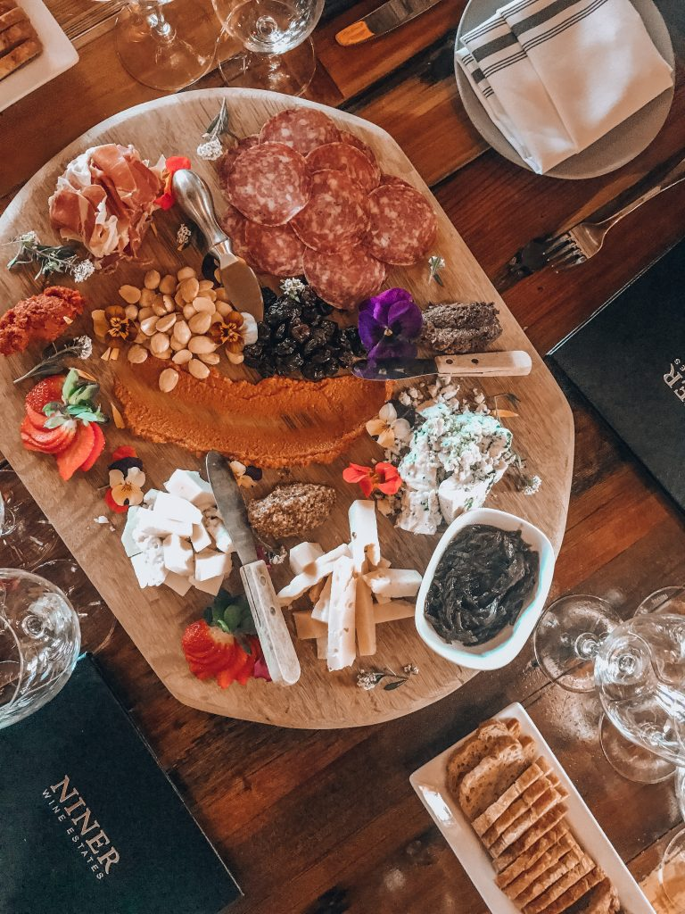 Cheese and charcuterie platter from NINER Wine Estates